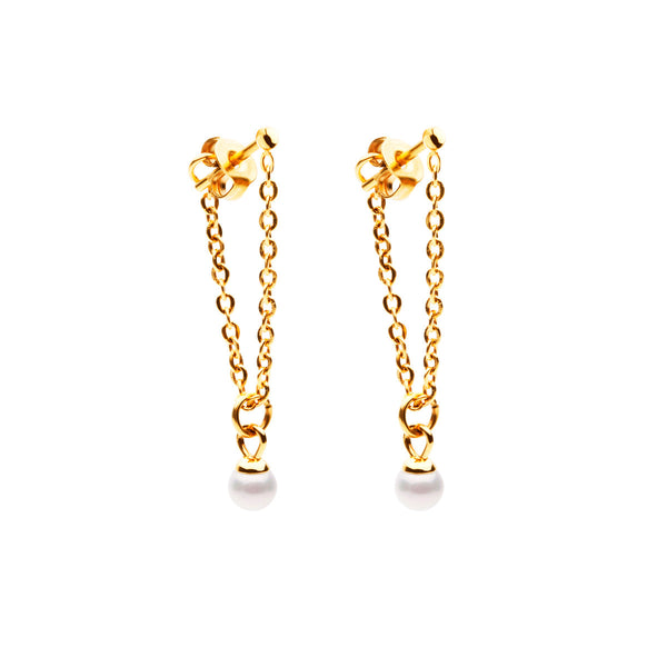 Faze Earrings - Gold with Pearl