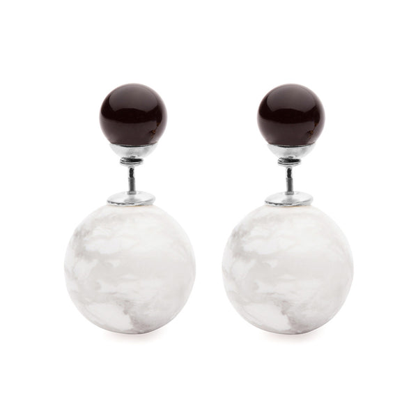 (PRE-ORDER) Grand Eclipse - Marble and Black Onyx Studs