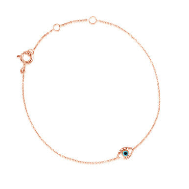 (PRE-ORDER) DIAMOND TURQUOISE EVIL EYE BRACELET ROSE GOLD