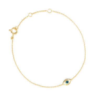 (PRE-ORDER) DIAMOND TURQUOISE EVIL EYE BRACELET YELLOW GOLD
