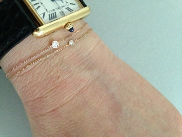 Diamond Solitaire Flirty bracelet (Instock) - Rose Gold