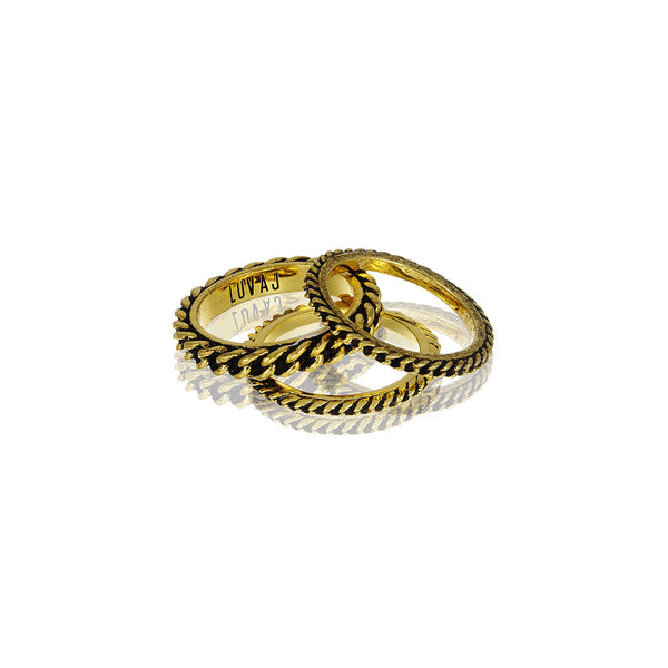 FROZEN CHAIN RING SET - ANTIQUE GOLD
