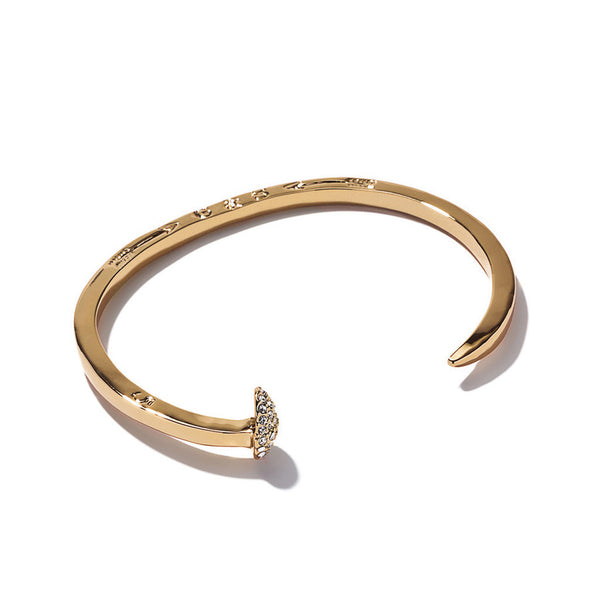 Skinny Railroad Spike Cuff - Pavé Gold