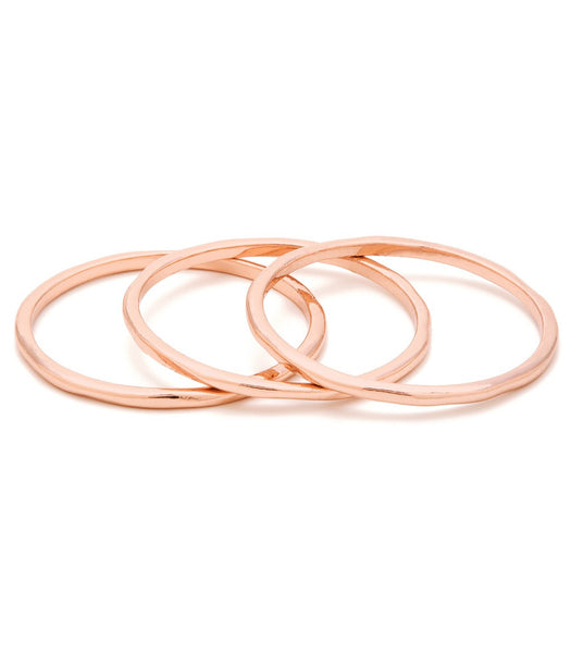 G Ring Set of 3 - Rose Gold