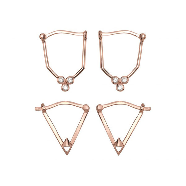 GOLD DUST NIGHTS EARRING SET OF 4 - ROSE GOLD
