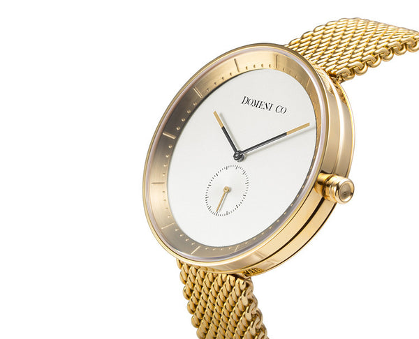 Domeni Co Champagne Gold Mesh Watch - White Dial