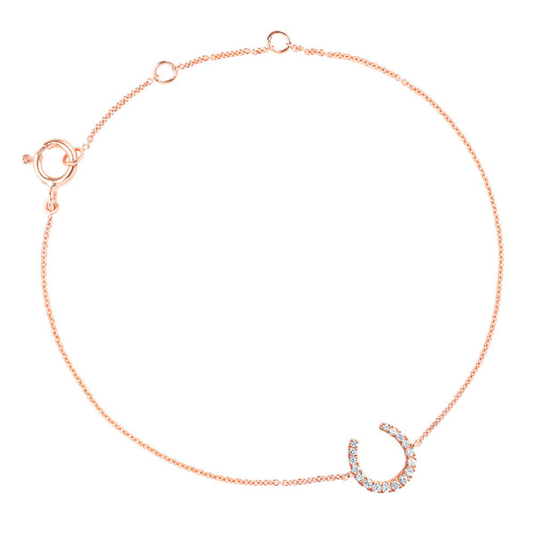 DIAMOND HORSESHOE CHARM BRACELET (ROSE GOLD)