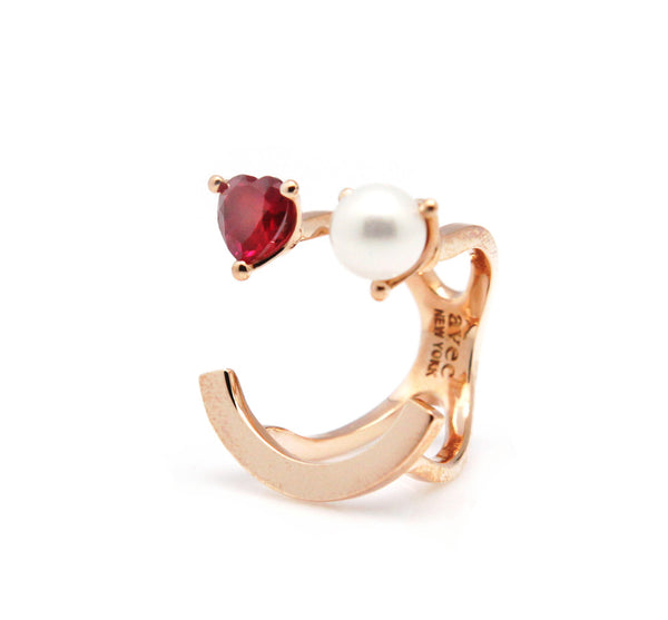 (PRE-ORDER) HEART PEARL SMILE PLAIN RING