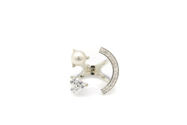 (PRE-ORDER) HEART PEARL SMILE PAVE SETTING RING
