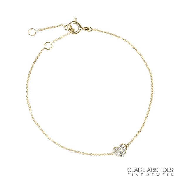 (PRE-ORDER) DIAMOND HEART CHARM BRACELET (3 COLOURS)