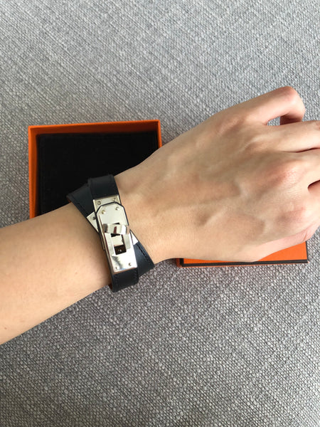 Hermes Kelly Double Tour KDT Leather Bracelet in Black Swift Leather (Size S)