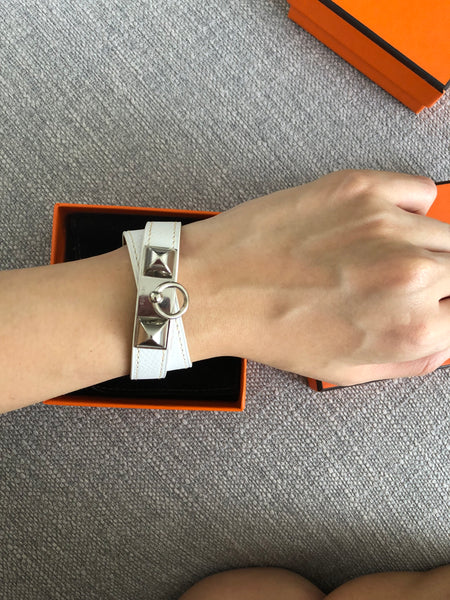 Hermes Rivale Leather Bracelet in White Epsom Leather (Size XS/S)