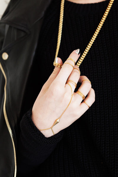 The Thin Spike Handpiece Bracelet - Gold