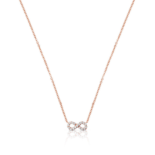 INFINITY CHARM HORSESHOE NECKLACE - ROSE GOLD