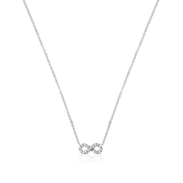 INFINITY CHARM HORSESHOE NECKLACE - WHITE GOLD