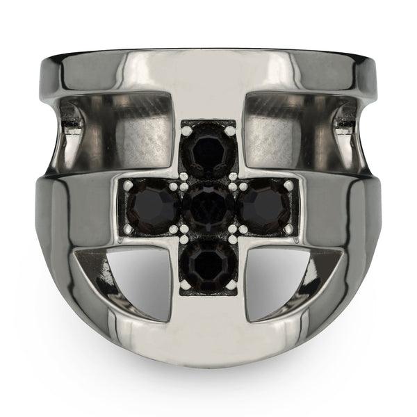 (PRE-ORDER) JOEY CROSS RING - RHODIUM