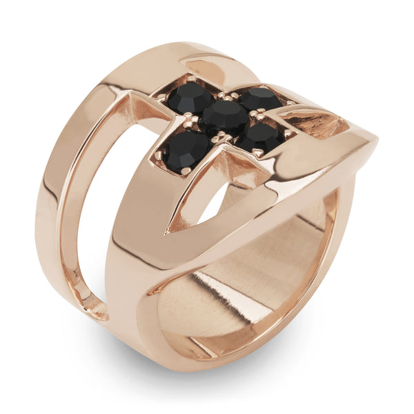 (PRE-ORDER) JOEY CROSS RING - ROSE GOLD