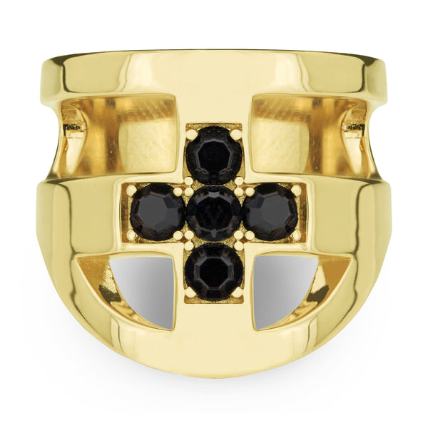 (PRE-ORDER) JOEY CROSS RING - YELLOW GOLD