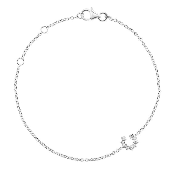 (PRE-ORDER) Petite Diamond Horseshoe Bracelet in White Gold