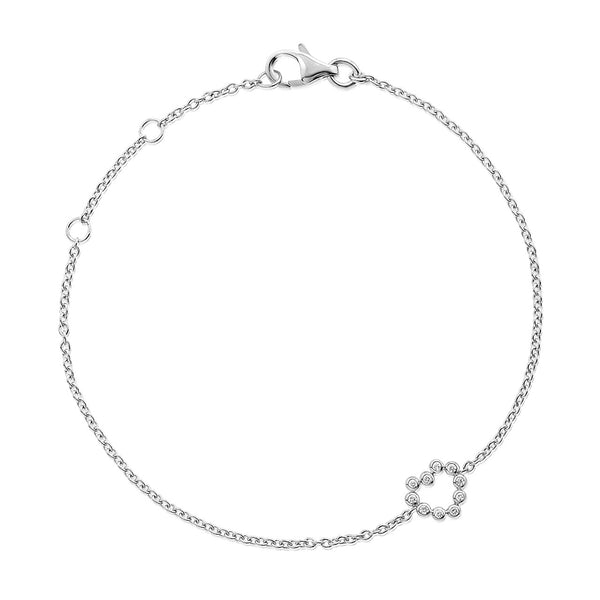 (PRE-ORDER) Petite Diamond Heart Bracelet in White Gold