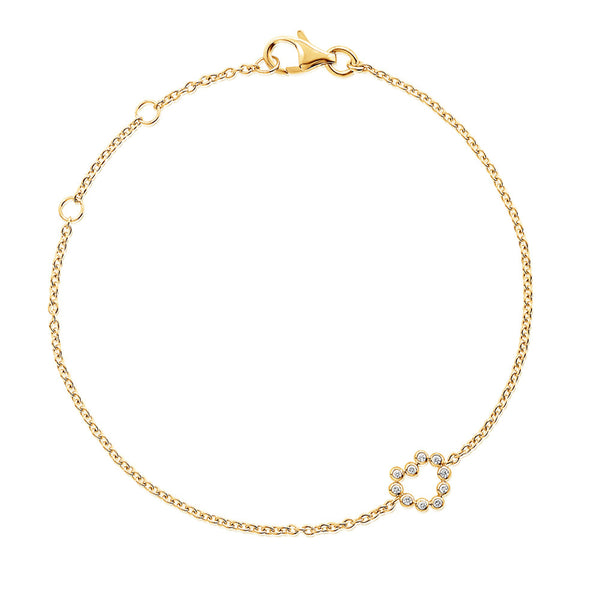 (PRE-ORDER) Petite Diamond Heart Bracelet in Yellow Gold
