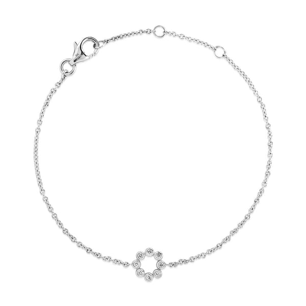 (PRE-ORDER) Petite Diamond Circle Bracelet in White Gold
