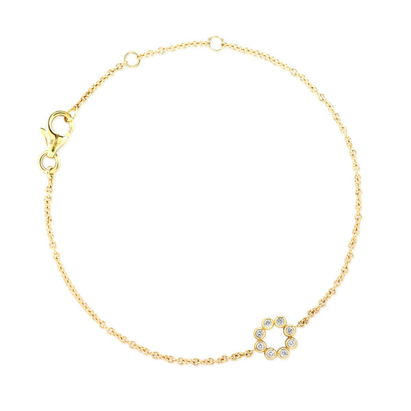 (PRE-ORDER) Petite Diamond Circle Bracelet in Yellow Gold
