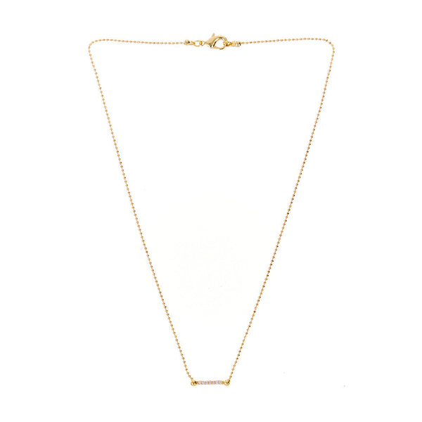 The Pave Barbell Charm Necklace - Gold