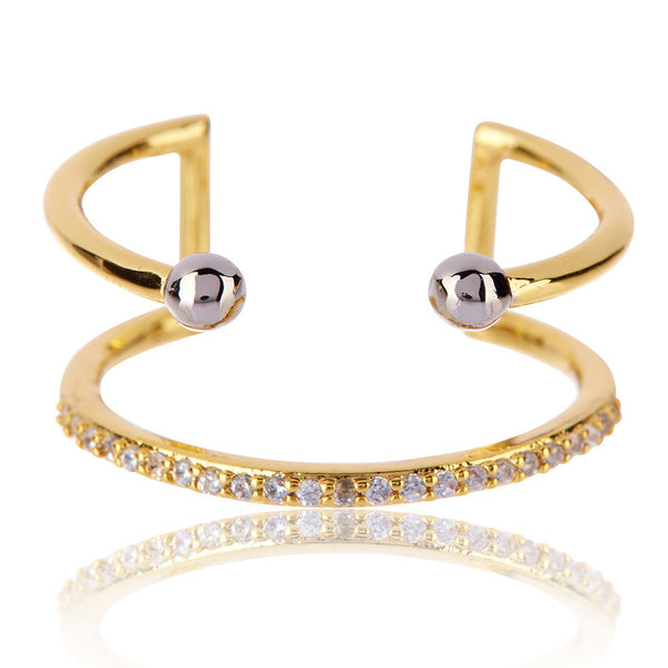 The Open Barbell Ring - Gold