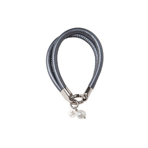 LAMBSKIN BRACELET WITH PEARL - DARK GREY