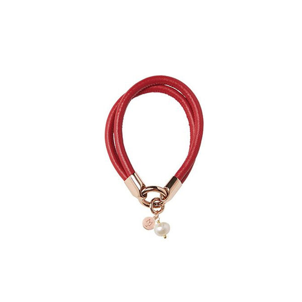 LAMBSKIN BRACELET WITH PEARL - RED