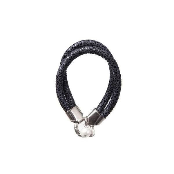 LAMBSKIN BRACELET WITH PEARL - LIZARD BLACK