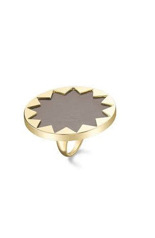 KHAKI LARGE COCKTAIL SUNBURST RING