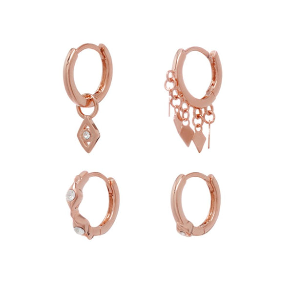 Kite Hoop Huggies Set - Rose Gold