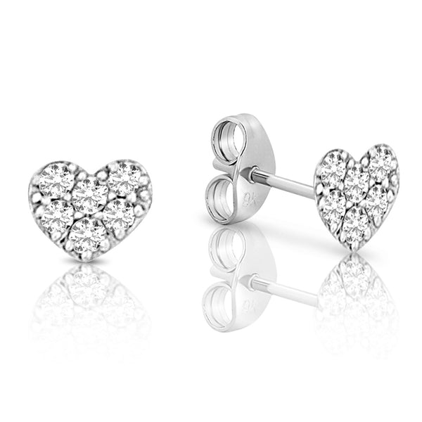 (PRE-ORDER) MY FIRST DIAMOND HEART BAMBINO EARRINGS IN WHITE GOLD