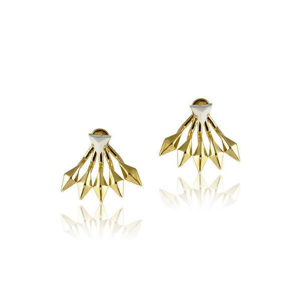 MARBLE FLARE EARRINGS - GOLD