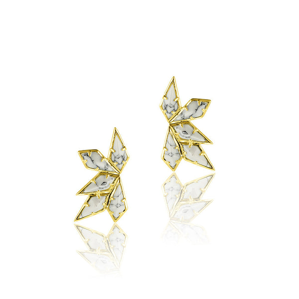 MARBLE WING EARRINGS - GOLD
