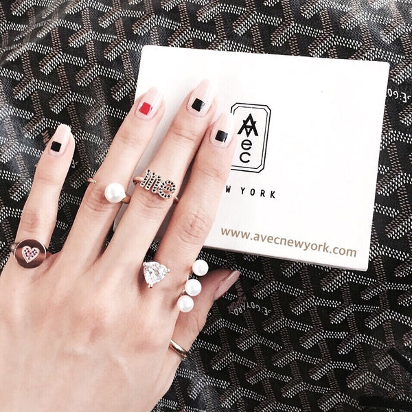 (PRE-ORDER) 'ME' LETTER PAVE SETTING OPEN RING