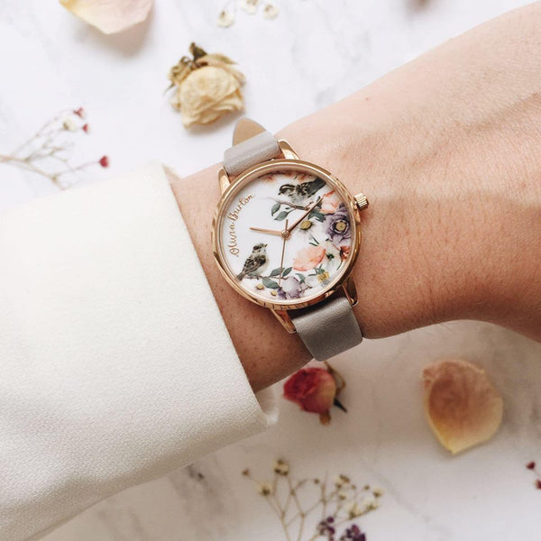 Midi English Garden Grey Lilac & Rose Gold Watch