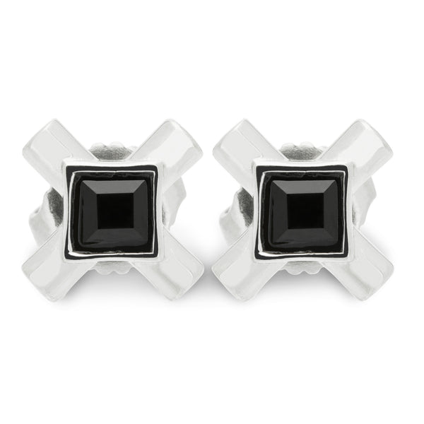 (PRE-ORDER) NANCY STUD EARRING WITH ONYX - SILVER