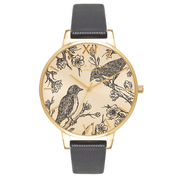 ANIMAL MOTIF BIRDS IN LOVE SUNRAY BLACK & GOLD