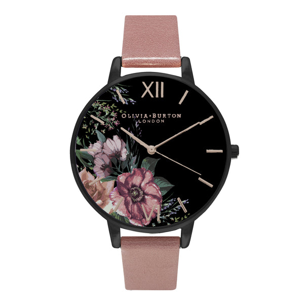 AFTER DARK FLORAL BLACK DIAL & ROSE STRAP