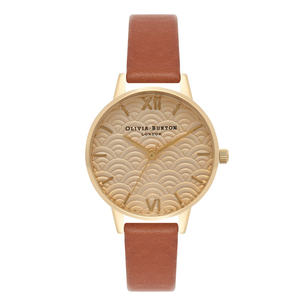 EMBOSSED SCALLOPED MIDI DIAL TAN & GOLD