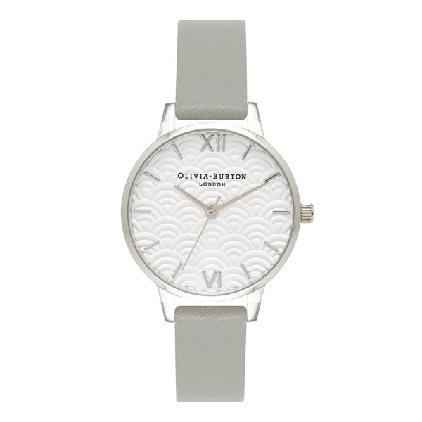 EMBOSSED SCALLOPED MIDI DIAL GRAY & SILVER