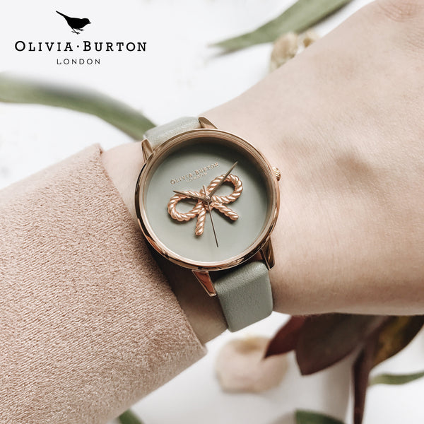 3D Vintage Bow Grey & Rose Gold Watch