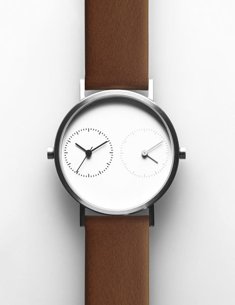 LONG DISTANCE - WHITE DIAL SILVER & BROWN STRAP
