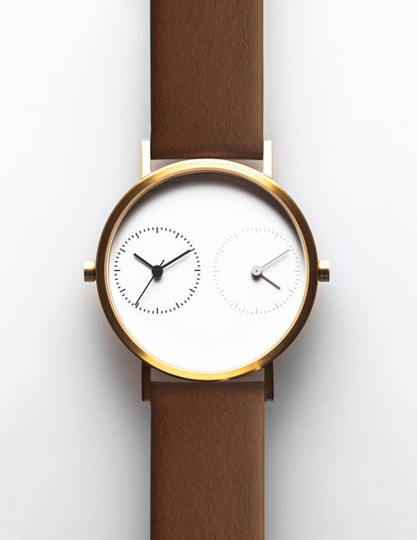 LONG DISTANCE - WHITE DIAL GOLD & BROWN STRAP