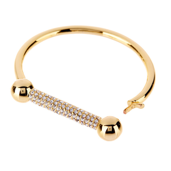 The Pave Barbell Cuff - Gold