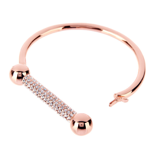 The Pave Barbell Cuff - Rose Gold
