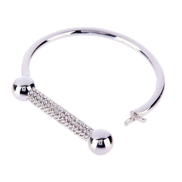 The Pave Barbell Cuff - Silver